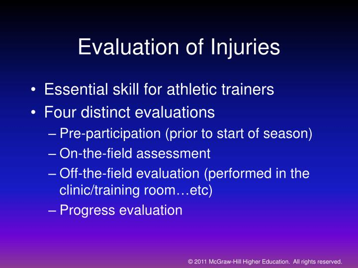 Evaluation of injuries
