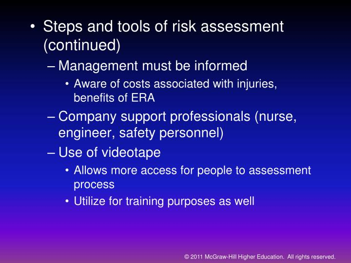 Steps and tools of risk assessment (continued)