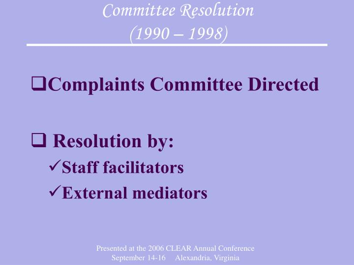 Committee Resolution