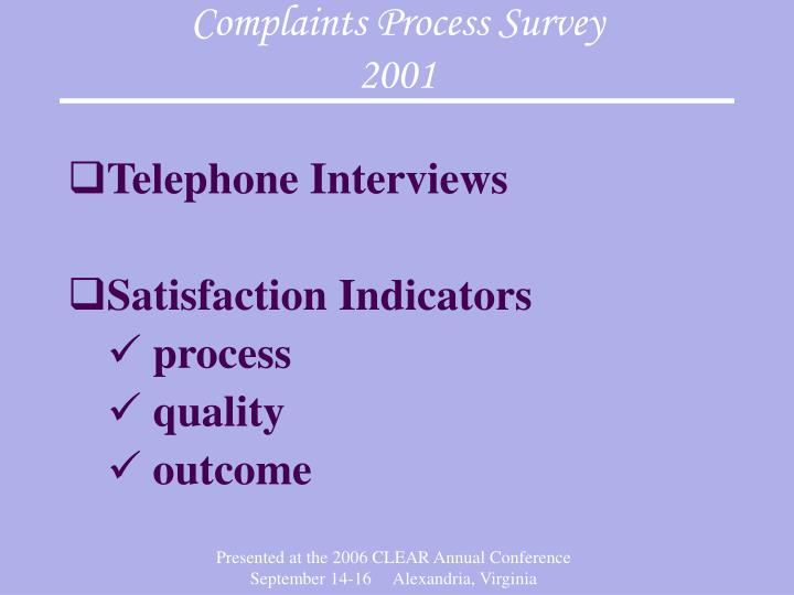 Complaints Process Survey
