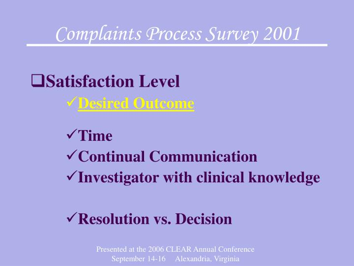 Complaints Process Survey 2001