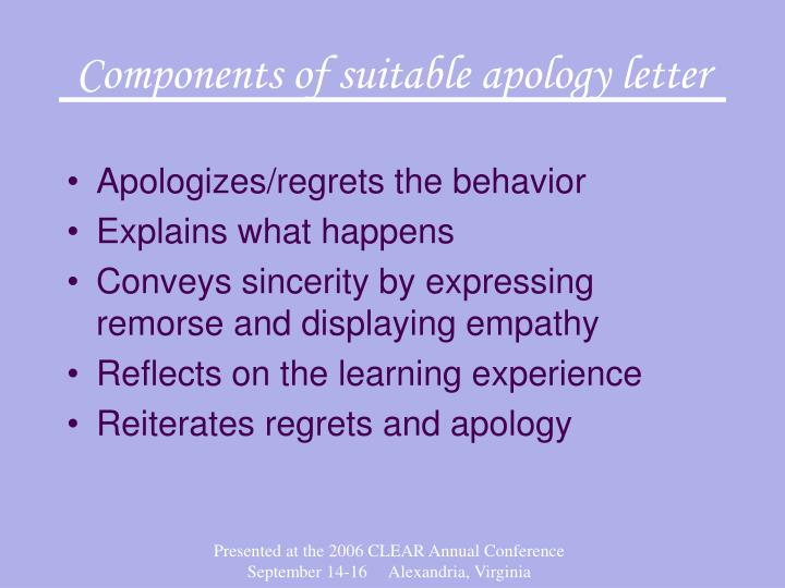Components of suitable apology letter