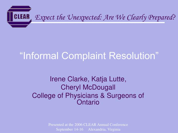 Informal complaint resolution