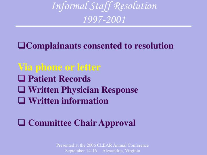 Informal Staff Resolution