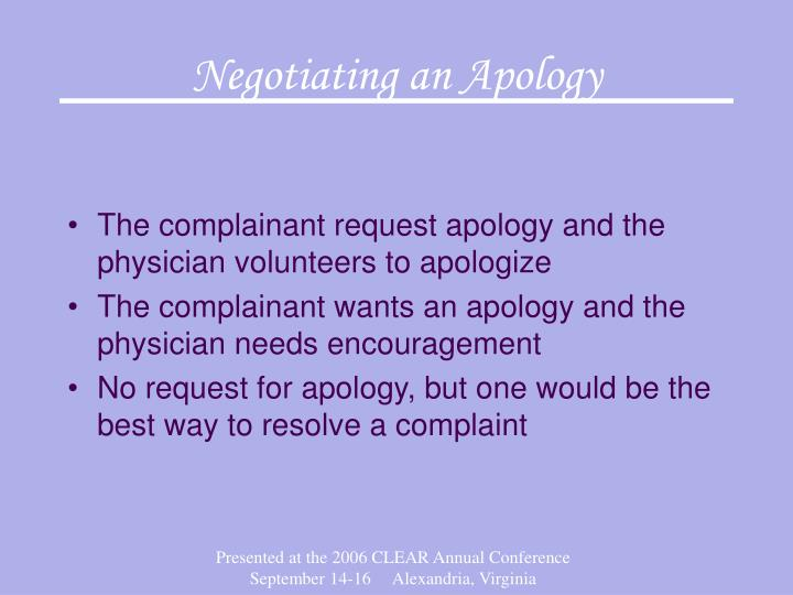 Negotiating an Apology