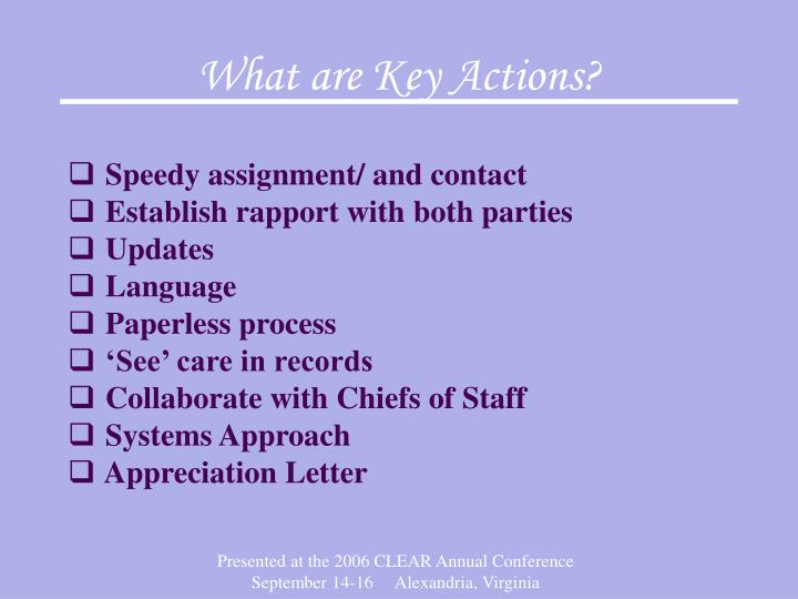 What are Key Actions?