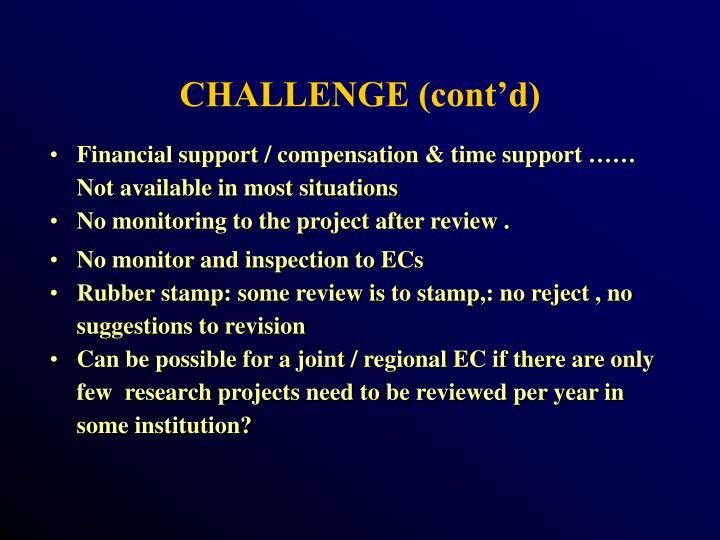 CHALLENGE (cont'd)