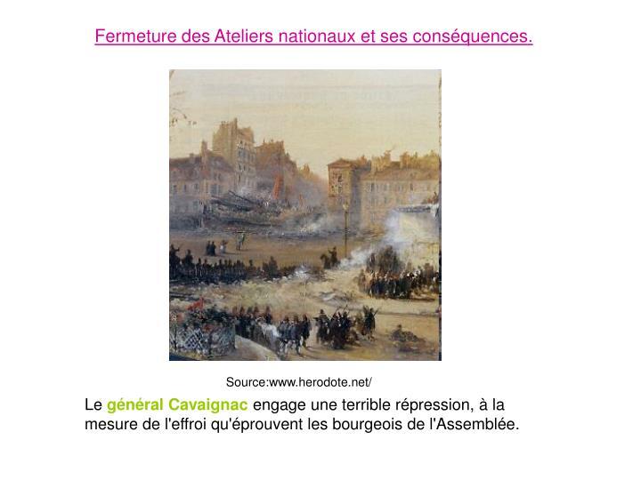 Fermeture des Ateliers nationaux et ses conséquences.