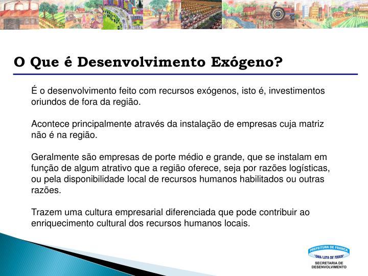 O Que é Desenvolvimento Exógeno?
