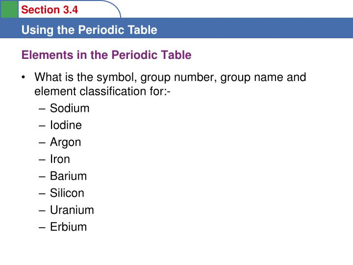 Elements in the Periodic Table
