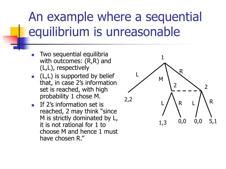 Two sequential equilibria with outcomes: (R,R) and (L,L), respectively