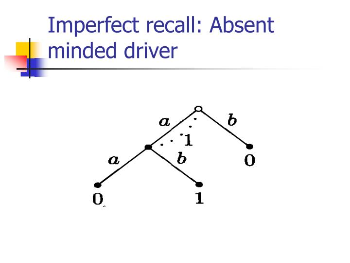 Imperfect recall: Absent minded driver