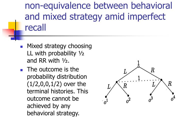 Mixed strategy choosing LL with probability ½ and RR with ½.