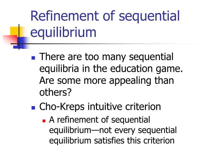 Refinement of sequential equilibrium