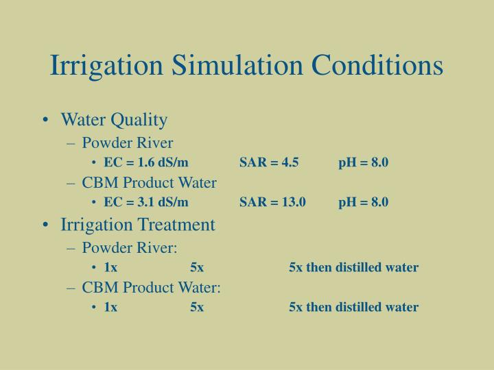 Irrigation Simulation Conditions