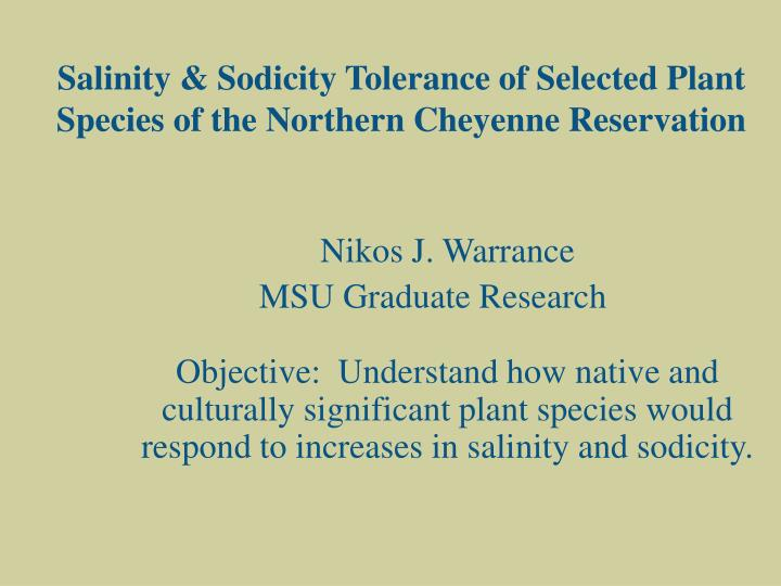 Salinity & Sodicity Tolerance of Selected Plant Species of the Northern Cheyenne Reservation