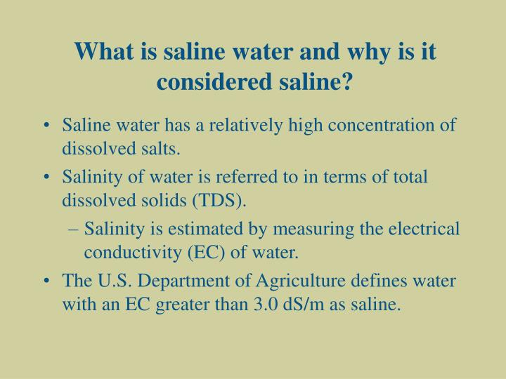What is saline water and why is it considered saline?