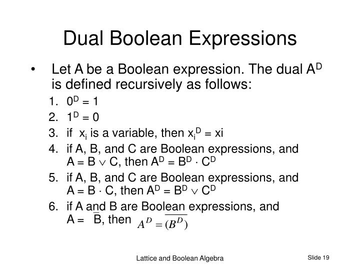 Dual Boolean Expressions