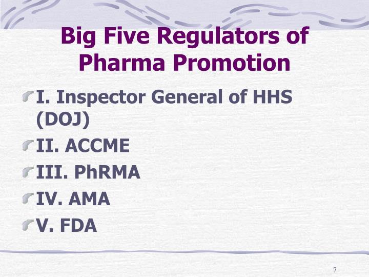 Big Five Regulators of Pharma Promotion