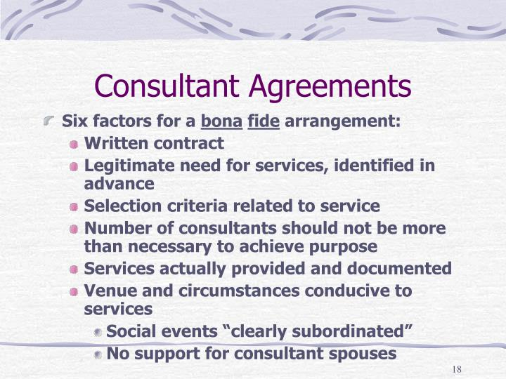 Consultant Agreements