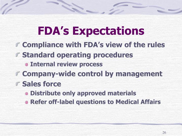 FDA's Expectations
