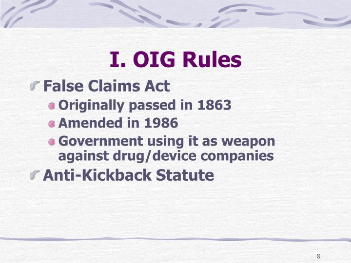 I. OIG Rules