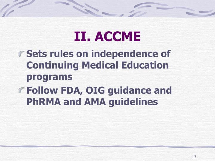 II. ACCME