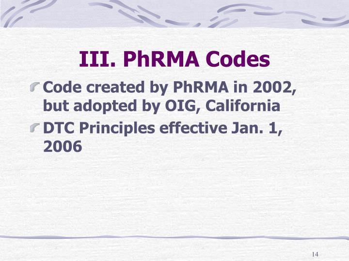 III. PhRMA Codes