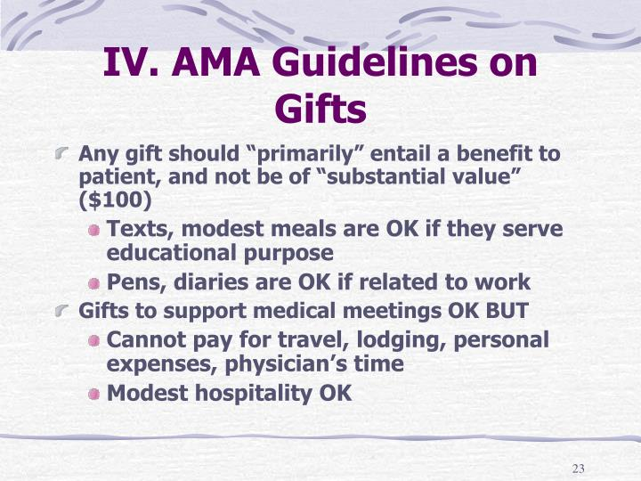 IV. AMA Guidelines on Gifts