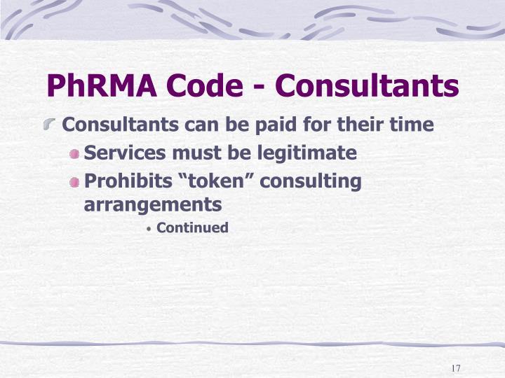 PhRMA Code - Consultants