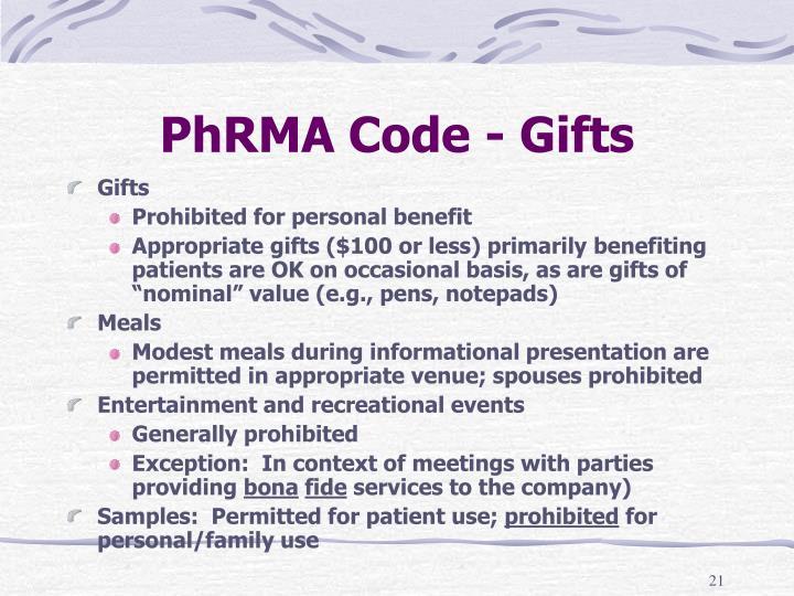 PhRMA Code - Gifts