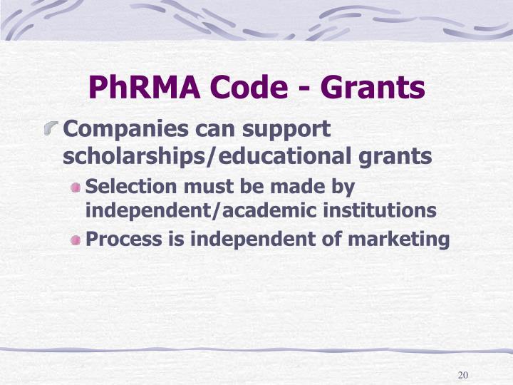 PhRMA Code - Grants