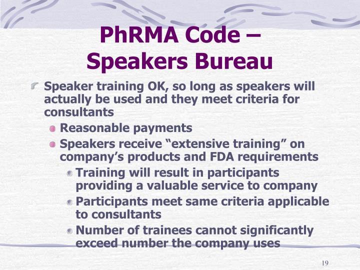 PhRMA Code –
