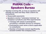 phrma code speakers bureau