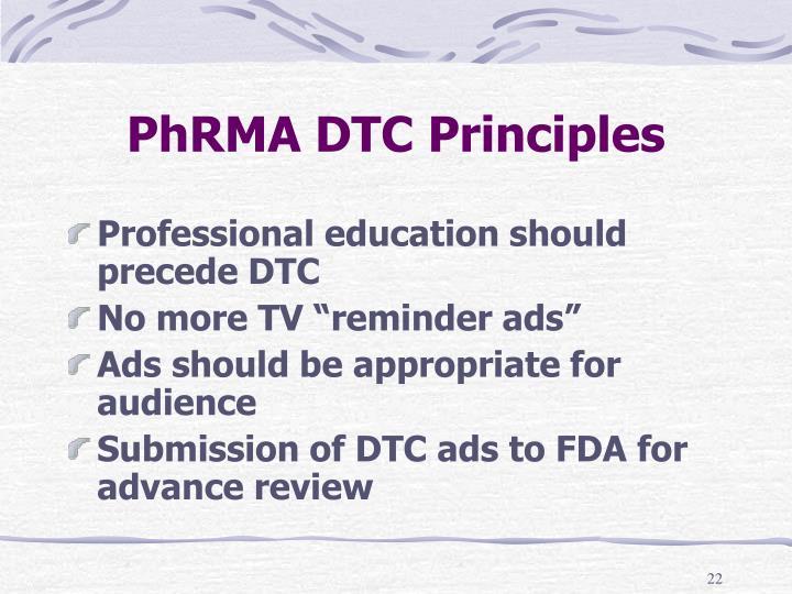 PhRMA DTC Principles