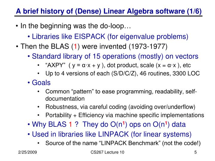 A brief history of (Dense) Linear Algebra software (1/6)