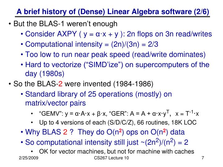 A brief history of (Dense) Linear Algebra software (2/6)