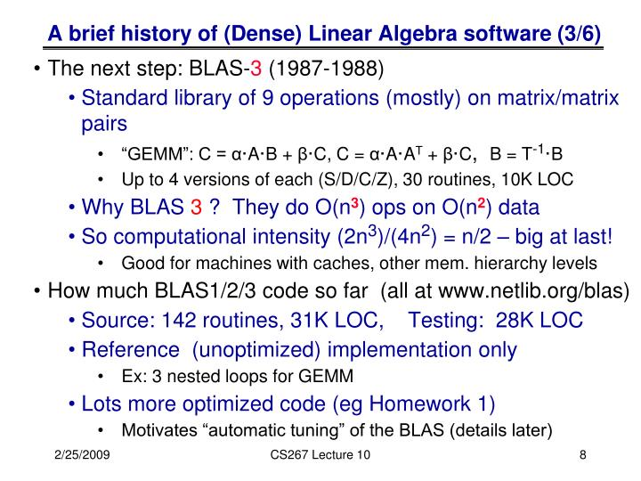 A brief history of (Dense) Linear Algebra software (3/6)