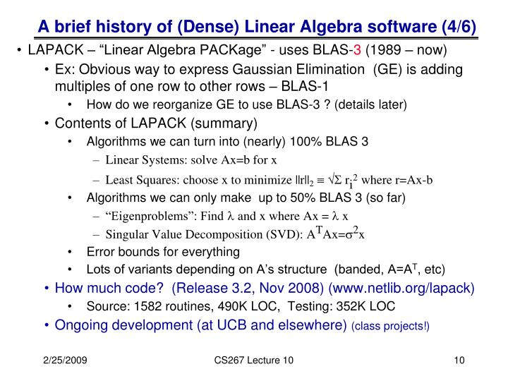 A brief history of (Dense) Linear Algebra software (4/6)