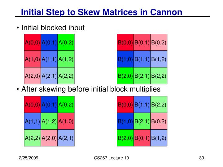 Initial Step to Skew Matrices in Cannon
