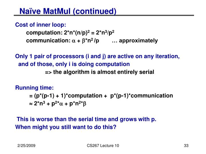 Naïve MatMul (continued)