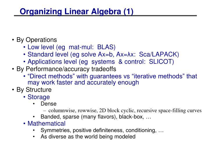 Organizing Linear Algebra (1)