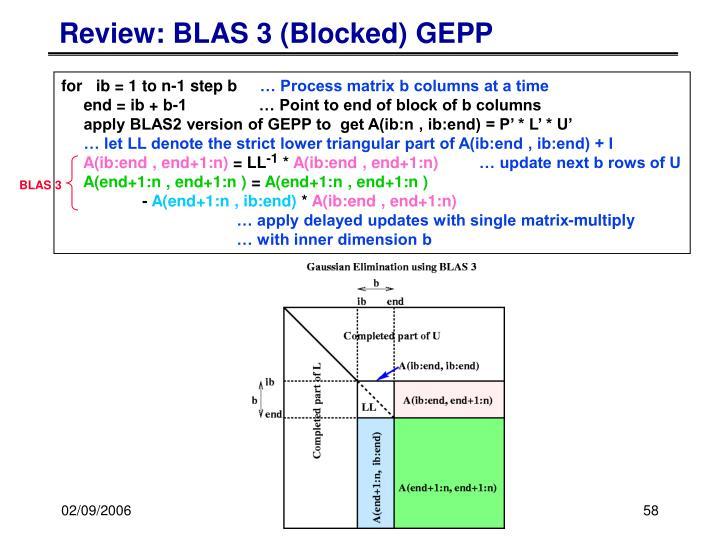 Review: BLAS 3 (Blocked) GEPP