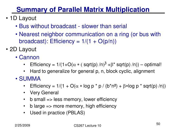 Summary of Parallel Matrix Multiplication