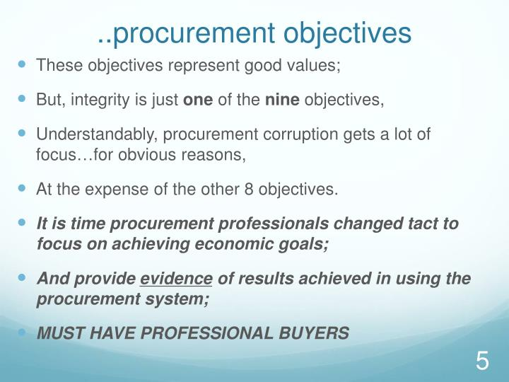 ..procurement objectives