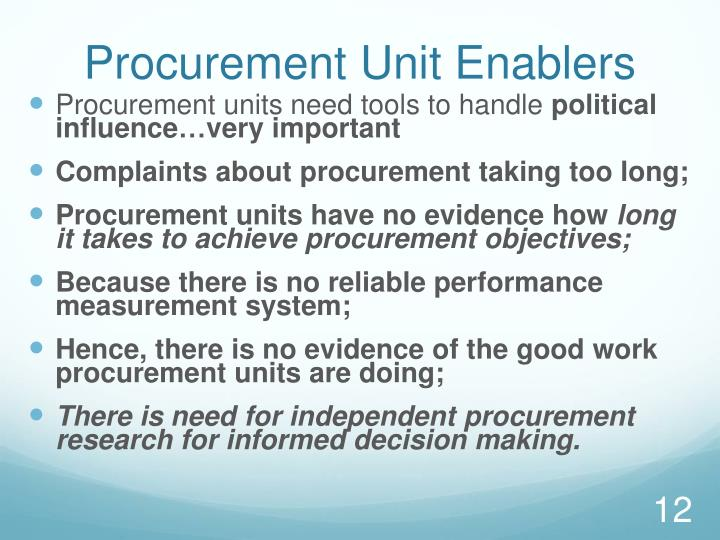 Procurement Unit Enablers