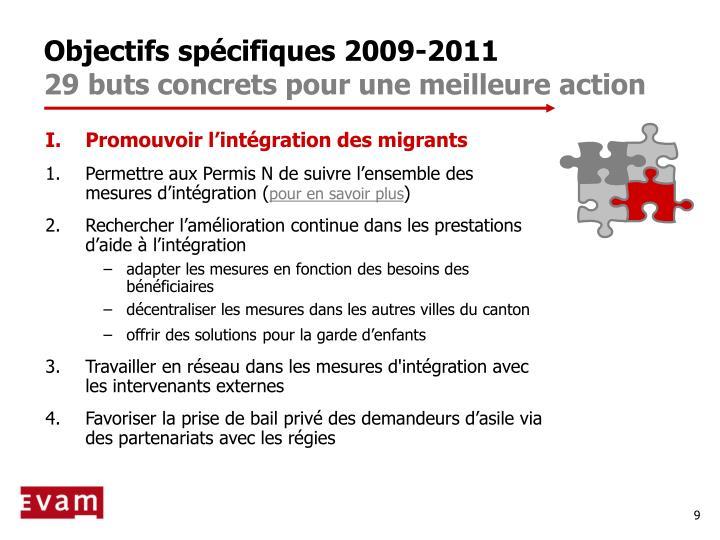 Objectifs spécifiques 2009-2011