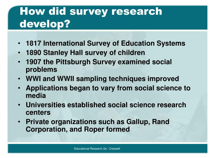 How did survey research develop?