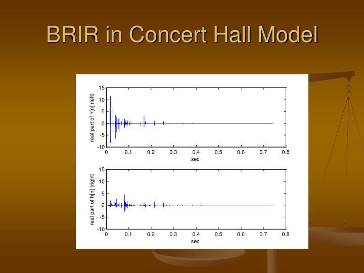 BRIR in Concert Hall Model