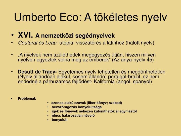 Umberto Eco: A tökéletes nyelv